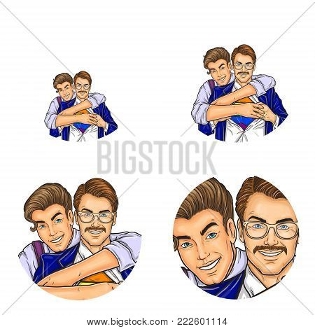 Vector pop art avatars for social network chat user profile or blog account picture icon template. Gay men couple of young and adult boy embracing, smiling and unbutton shirt. Retro sketch set