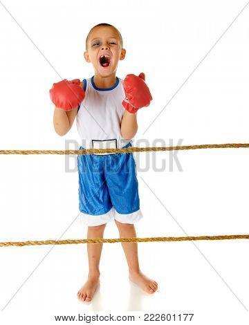 An adorable preschooler loudly yelling