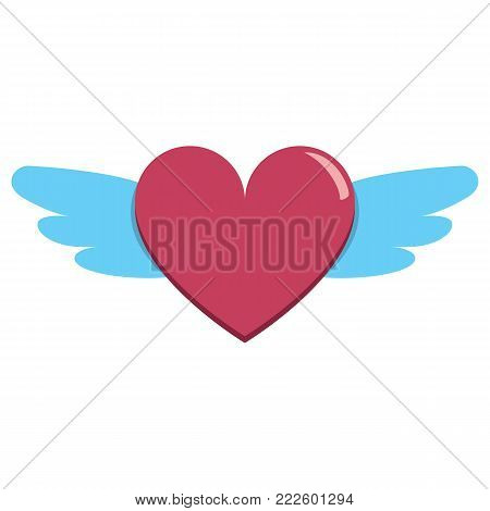cute heart with wings colorful isolated