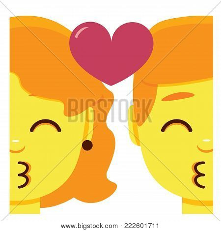 cute kawaii couple kissing emoji colorful isolated
