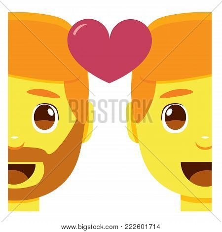 cute kawaii couple smiling emoji colorful isolated