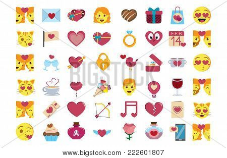 Set cute kawaii saint valentine emojis colorful isolated
