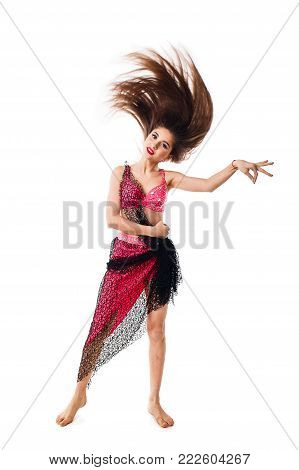 Beautiful Girl Dancing Belly Dance In Red Attire.