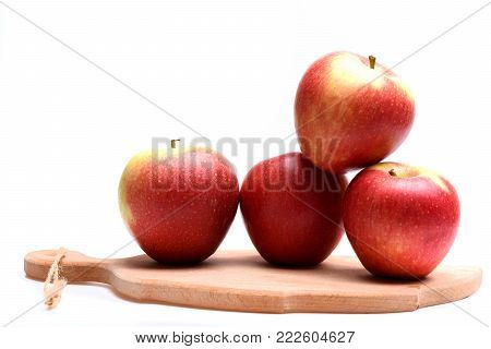 Fruit Set Isolated On White Background. Apples With Vitamins