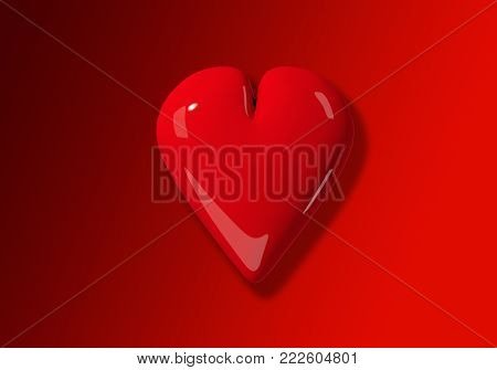 A 3D red heart on a gradient red background