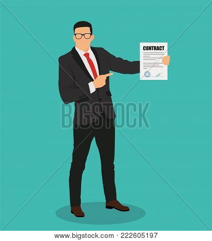The businessman signed the contract - stock vector.