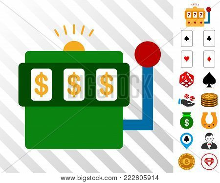 Casino Bandit pictograph with bonus gamble images. Vector illustration style is flat iconic symbols. Designed for gambling apps.