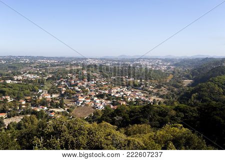 View of the spectacular Sintra mountain countryside from the top of the Monserrate Palace in Sintra, Portugal