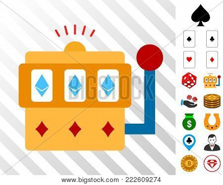 Ethereum One-Armed Bandit icon with bonus casino graphic icons. Vector illustration style is flat iconic symbols. Designed for gambling gui.