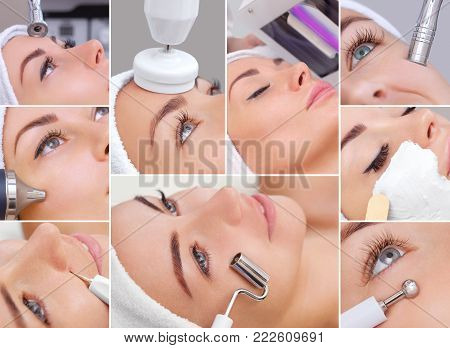 Collage of various cosmetic procedures for a young, beautiful woman in a beauty salon. Cosmetology and professional skin care.