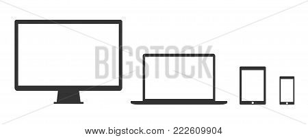Flat design devices icons, technology - stock vector.