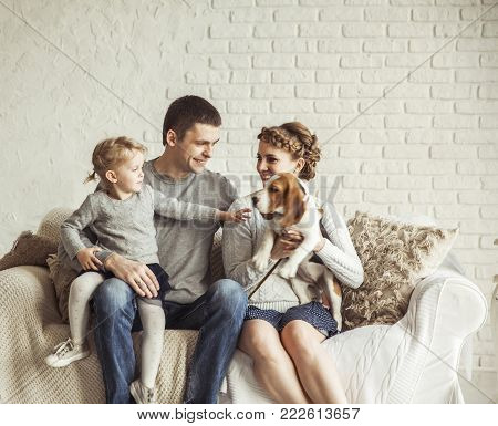happy family and a pet sitting on a sofa in the spacious living room