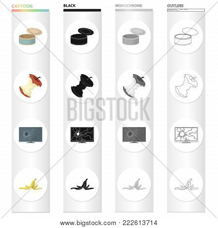 Garbage, ecology, hygiene and other  icon in cartoon style. Peel, banana, waste, icons in set collection.
