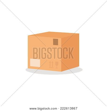 Carton box with furniture sign. Simple flat style vector illustration isolated on the white background. Moving concept