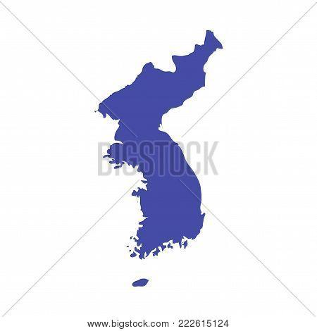 Korean Peninsula vector map. United Korea map contour. Great for Winter Games material.