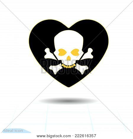 Heart icon. A symbol of love. Valentine s day with the sign of the Human skull and crossbones. Flat style for graphic and web design, logo. Frame shadow. Adrenaline addiction , Vector illustration.