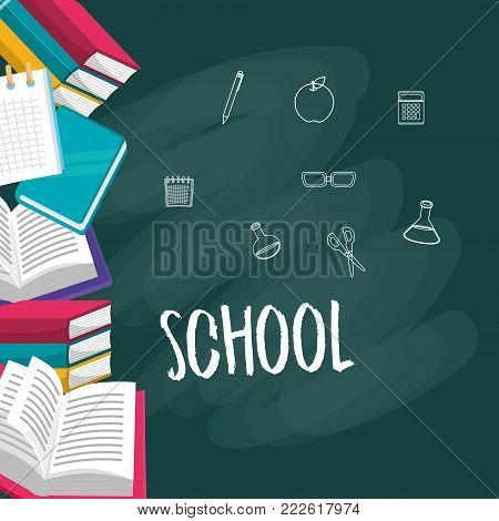 Blackboard and icon set of back to school and education theme Vector illustration
