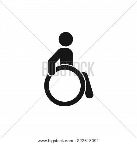 Disabled person sign. Mark disability. Man on wheelchair icon. Vector, eps 10. Black and white illustration