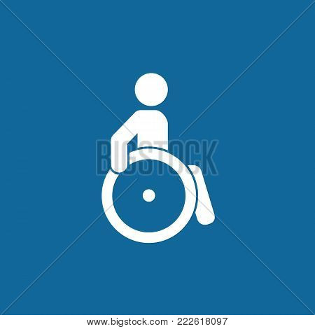 Disabled person sign. Mark disability. Man on wheelchair icon. Vector, eps 10. Blue and white illustration
