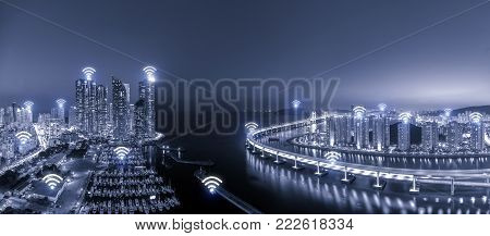 Wifi network business conection system on Busan city in background. Wifi technology and conection concept