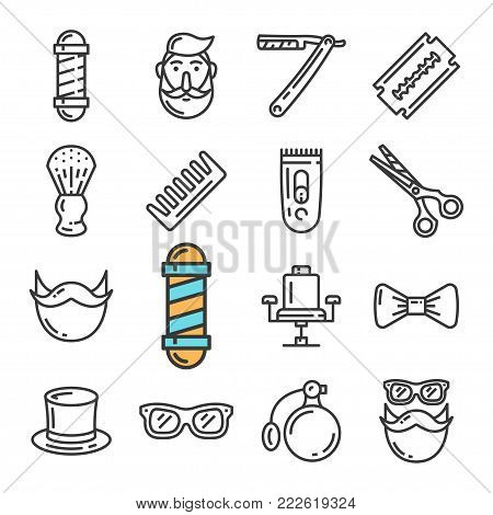 Vector black line Barber Shop icons set. Includes such Icons as Pole, Chair, Hipster, Razor. Pictogram