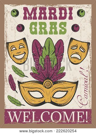 Mardi gras colored vintage poster with carnival mask and theatre mask. advertising template