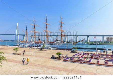 TOYAMA, JAPAN - MAY 15, 2016: Kaiwo Maru at Kaiwo Maru Park, Toyama Bay. Toyama Bay is the most beautiful bays in the world. Kaiwo Maru is a Japanese four-masted training barque tall ship.