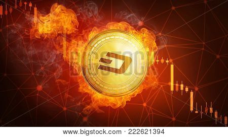 Golden Dash coin in fire flame is falling. Burning crypto currency Dash falling down, blockchain cryptocurrency market crash bubble burst concept. Illustration isolated on black background.