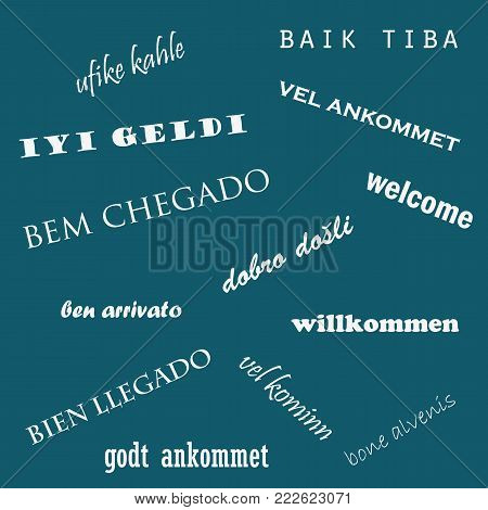 Welcome word cloud in different languages. Language day