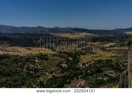 Greenery, Mountains, Farms And Fields On The Outskirts Of Ronda Spain, Europe