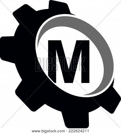Gear Logo Letter M Logo Design Template Vector