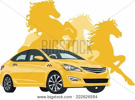 Image of a taxi on the background of a profile of horses; Horsepower