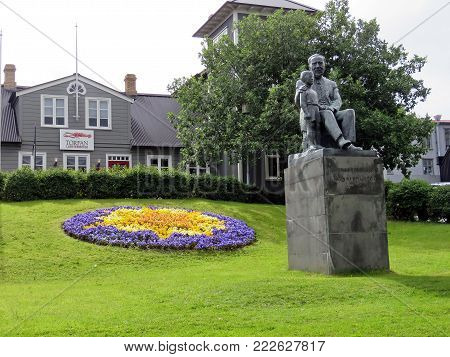 Statue of pastor Fridrik Fridriksson in Reykjavik, Iceland, July 4, 2017