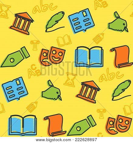 A seamless pattern on the theme of school and education. Subject literature. Masks, book, pen and other elements for the design of the background of the booklet, poster, leaflets.