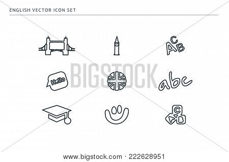 Set of outline vector school icons on the theme of education. The subject is English. Alphabet, flag, smile, bigben, bridge.