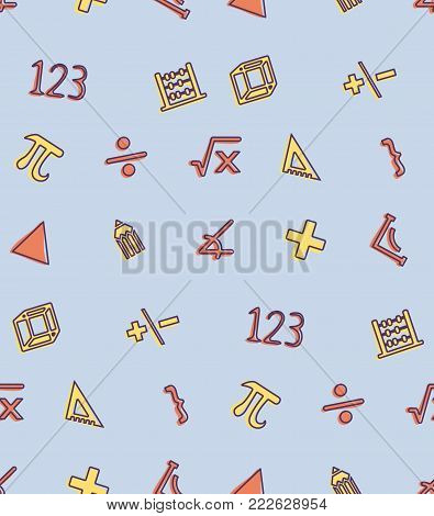 A seamless pattern on the theme of school and education. Subject Mathematics and Geometry. Figures, signs, numbers and other elements for the design of the background of the booklet, poster, leaflet.