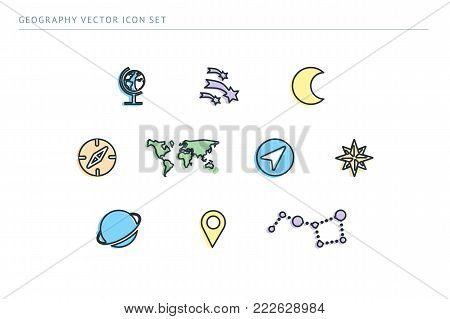 Set of outline vector school icons. Subject education geography. Globe, stars, earth, planet, label, compass.
