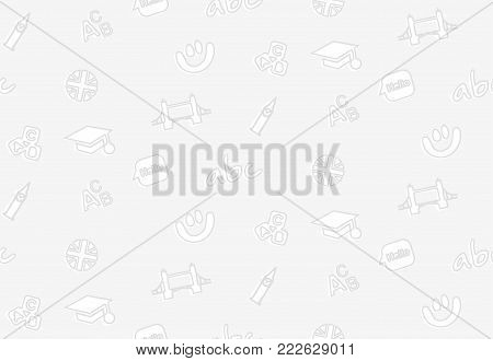 A seamless pattern on the theme of school and education. The subject is English. Flag, alphabet, smile and other elements to design the background of a booklet, a poster, leaflets.