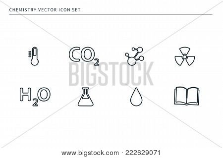 A set of outline vector icons on a theme school education. Subject chemistry. Bulb, formulas, test tubes, radiation, drop, book.