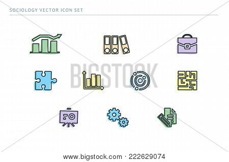 A set of outline vector icons on a theme school education. Subject sociology. Scheme, diogram, documents, puzzle.