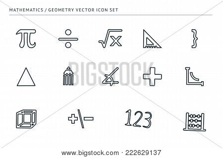 A set of outline vector icons on a theme school education. Subject of mathematics. Ruler, euglon, numbers, signs.