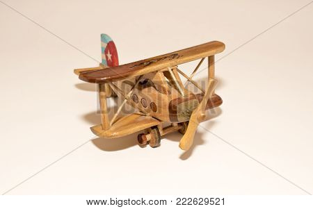 Handmade wooden Cuban airplane collectible toy purchased in Cuba