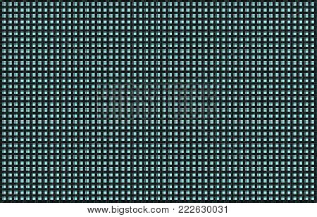 Repeated braiding of horizontal and vertical stripes creates a basket weave pattern with an aqua background & black strands of various widths.