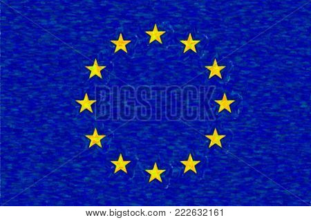 Watercolor flag of European Union, paper texture. Symbol of Independence Day, souvenir soccer game, button language, icon.