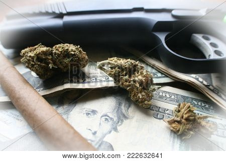 Drugs, Money & Marijuana High Quality Stock Photo