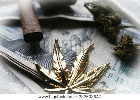 Marijuana On Money High Quality Stock Photo