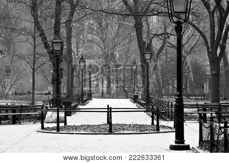 Washington Square Park in Midtown during a snow flurry