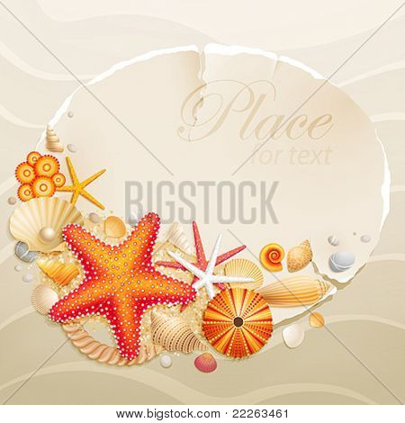 Vintage greeting card with shells and starfishes on sand background. Vector illustration.