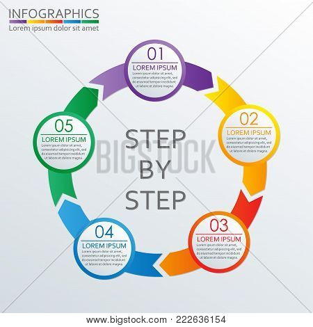 Step by step infographics template with 5 steps, options or levels. Vector illustration.