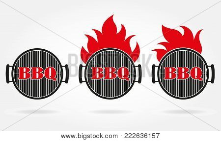 BBQ and grill icon or label set. Grill and barbecue design template with fire flame. Vector illustration.